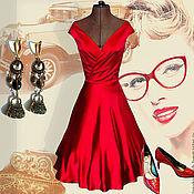 Одежда handmade. Livemaster - original item Red silk dress with a fluffy skirt Valentino. Handmade.