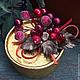 """Броши ручной работы. Заказать Брошь """"Рябиновая гроздь"""". Наталия Сухова. Ярмарка Мастеров. Красивый подарок, бронзовый, камни натуральные"""