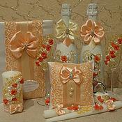 Свадебный салон ручной работы. Ярмарка Мастеров - ручная работа Комплект свадебных аксессуаров Персик и шампань. Handmade.