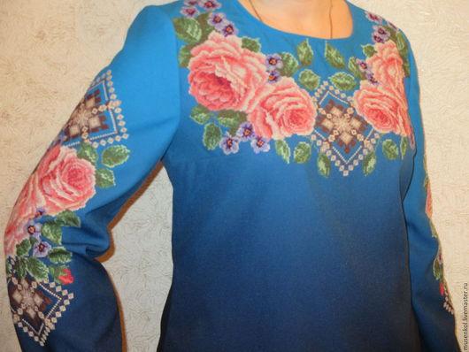 Этническая одежда ручной работы. Ярмарка Мастеров - ручная работа. Купить Вышиванка. Handmade. Синий, вышивка, ручная работа, цветы