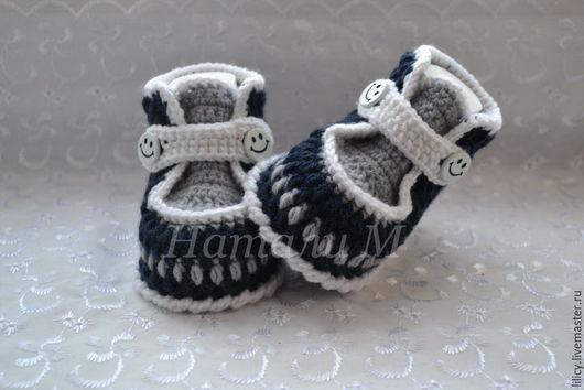 """Для новорожденных, ручной работы. Ярмарка Мастеров - ручная работа. Купить Ботиночки """" Денди """". Handmade. Тёмно-синий"""