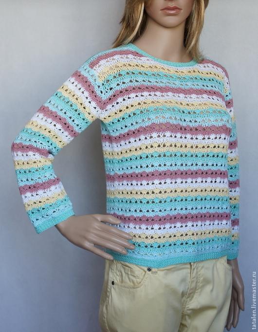 """Кофты и свитера ручной работы. Ярмарка Мастеров - ручная работа. Купить Пуловер """"Мармелад"""". Handmade. Мятный, пуловер связанный крючком"""