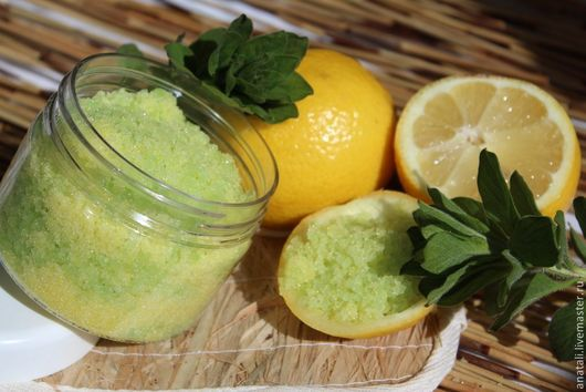 Самоэмульгирующий сахарно-солевой скраб `Лимон+мята`