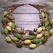 Украшения handmade. Livemaster - original item A Green History Of The Multi-Row Felted Felted Beads Necklace. Handmade.