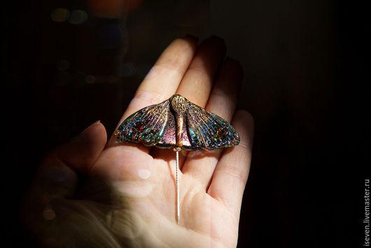 """Броши ручной работы. Ярмарка Мастеров - ручная работа. Купить Брошь """"Ночной алмаз"""". Handmade. Разноцветный, мотылек, крылья, lampwork"""