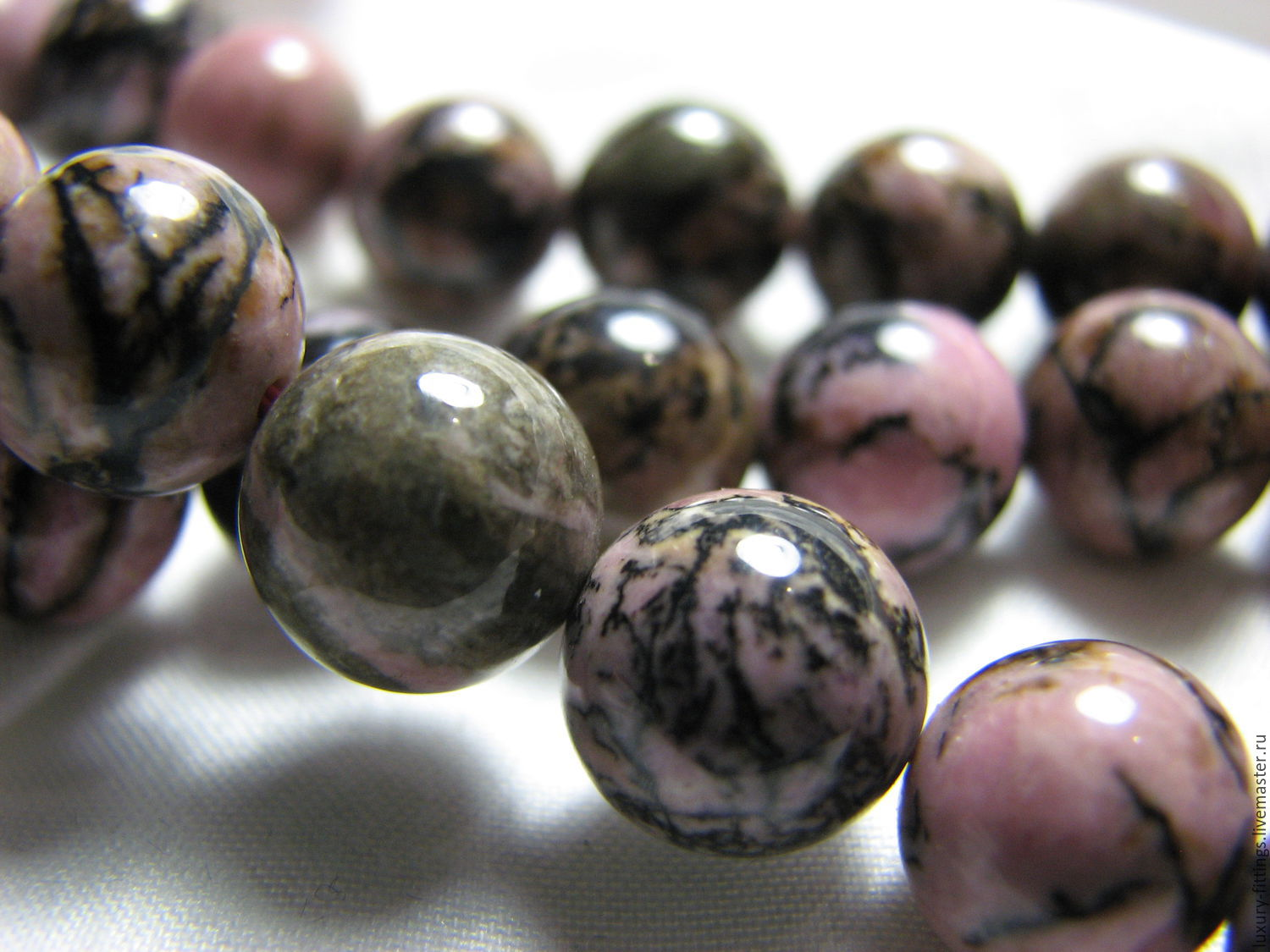 Rhodonite bead 10 mm smooth ball, Beads1, Moscow,  Фото №1