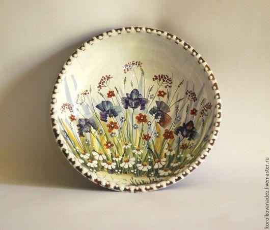 Тарелки ручной работы. Ярмарка Мастеров - ручная работа. Купить Керамическая тарелка миска (майолика). Handmade. Керамическая посуда