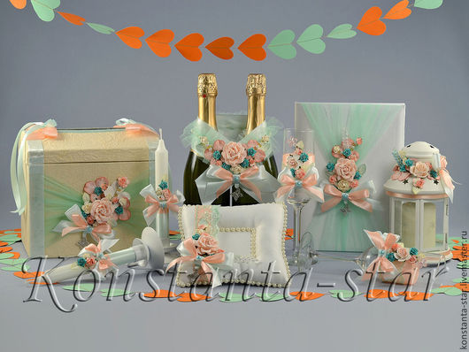 Свадебные аксессуары ручной работы. Ярмарка Мастеров - ручная работа. Купить Коллекция свадебных аксессуаров мятная. Handmade. Мятная свадьба