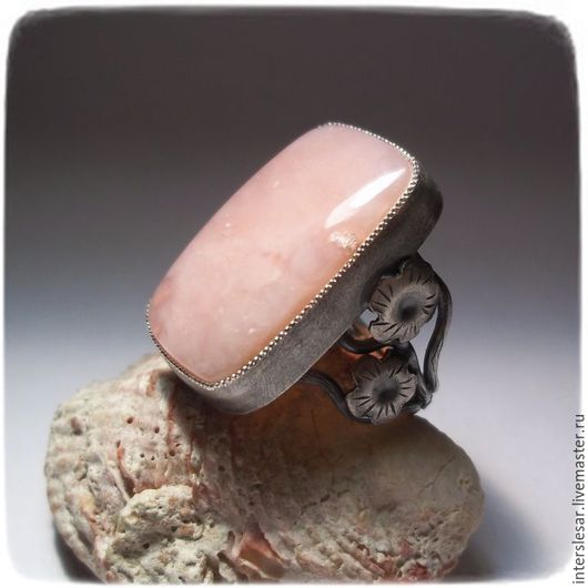Кольца ручной работы. Ярмарка Мастеров - ручная работа. Купить Розовый опал кольцо. Handmade. Бледно-розовый, самоцветы