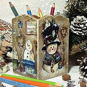"""Подарки к праздникам ручной работы. Ярмарка Мастеров - ручная работа карандашница """"Веселые снеговики"""". Handmade."""