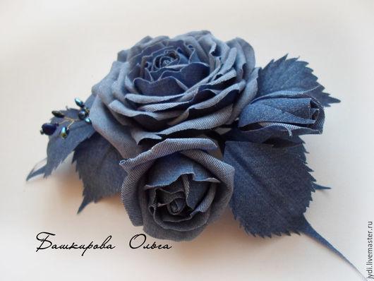 Заколки ручной работы. Ярмарка Мастеров - ручная работа. Купить Джинсовая роза. Handmade. Голубой, подарок девушке, чешский бисер