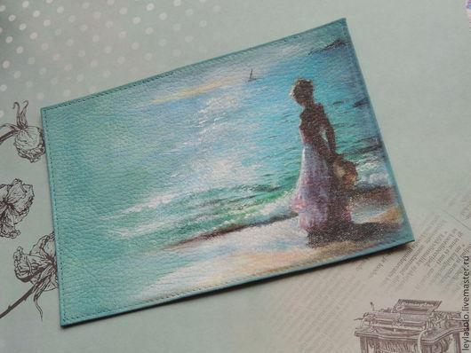 обложка для паспорта из кожи Море , замечательный подарок на 8 марта для девушки или женщины
