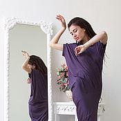 Одежда ручной работы. Ярмарка Мастеров - ручная работа асимметричное  платье с коротким рукавом  Kali-черничное. Handmade.