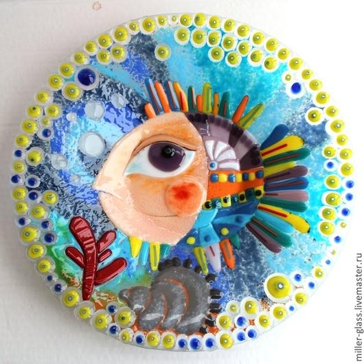 """Тарелки ручной работы. Ярмарка Мастеров - ручная работа. Купить Тарелка """"Ракушка, коралл, рыба"""" фьюзинг. Handmade. Тарелка, стекло"""