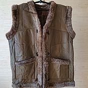 Одежда handmade. Livemaster - original item Women`s leather vest made of sheepskin 50-52. Handmade.