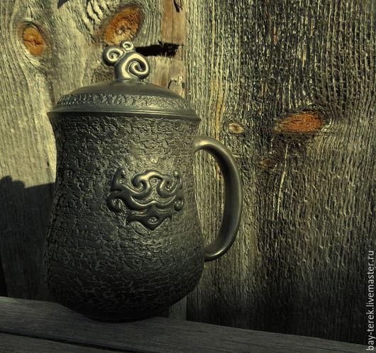 Кружки и чашки ручной работы. Ярмарка Мастеров - ручная работа. Купить Керамическая кружка для заваривания трав. Handmade. Черный