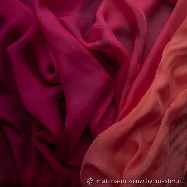 Шифон 100% шелк деграде омбре 3 цветовых сочетания Италия, Ткани, Москва,  Фото №1