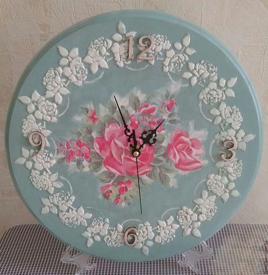 """Часы для дома ручной работы. Ярмарка Мастеров - ручная работа. Купить Настенные часы """" Кружево из роз"""". Handmade. Мятный"""