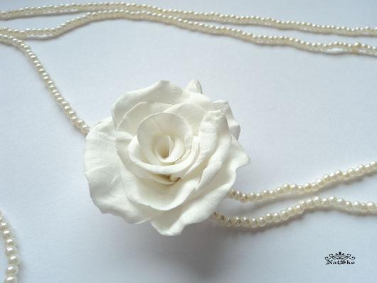 Колье, бусы ручной работы. Ярмарка Мастеров - ручная работа. Купить Бусы с розой. Handmade. Белый, длинные бусы