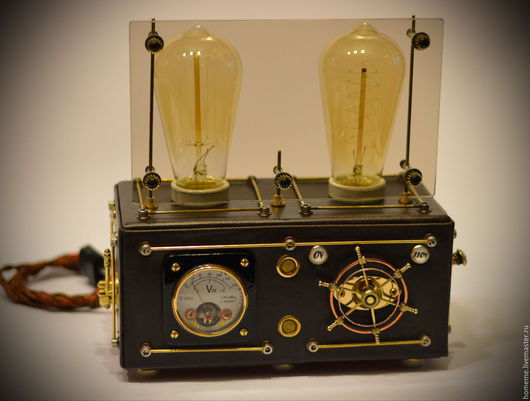 Steampunk Lamp `Brown Double-MEN`, with dimmer and Edison bulb.