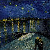 Картины и панно ручной работы. Ярмарка Мастеров - ручная работа Звездная ночь над Роной. Handmade.