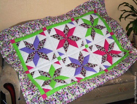 Пледы и одеяла ручной работы. Ярмарка Мастеров - ручная работа. Купить Одеяло (покрывало) детское (пэчворк). Handmade. Разноцветный, покрывало