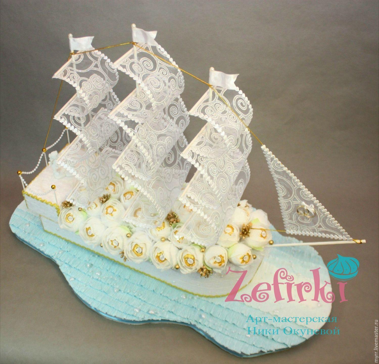 Свадебный корабль из конфет пошаговое фото