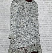 Одежда handmade. Livemaster - original item Summer boho set tunic scarf white-gray-black
