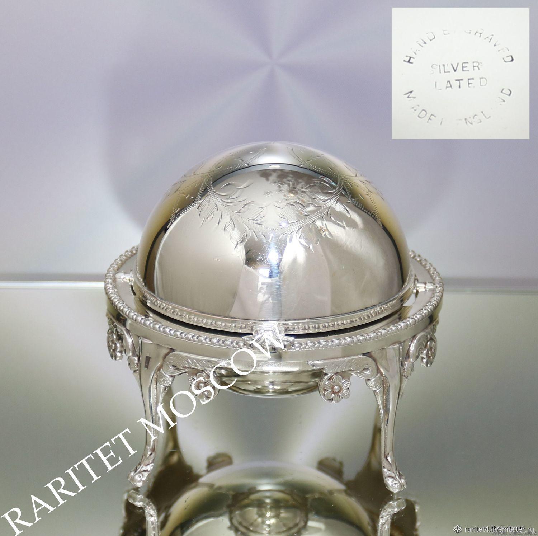 Винтажная посуда. Ярмарка Мастеров - ручная работа. Купить Винтаж: Икорница масленка ваза шар латунь серебрение Англия 2. Handmade.