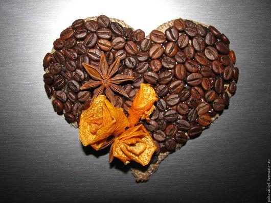 Кухня ручной работы. Ярмарка Мастеров - ручная работа. Купить Сердце, кофейный магнит. Handmade. Коричневый, зерна кофе, мешковина