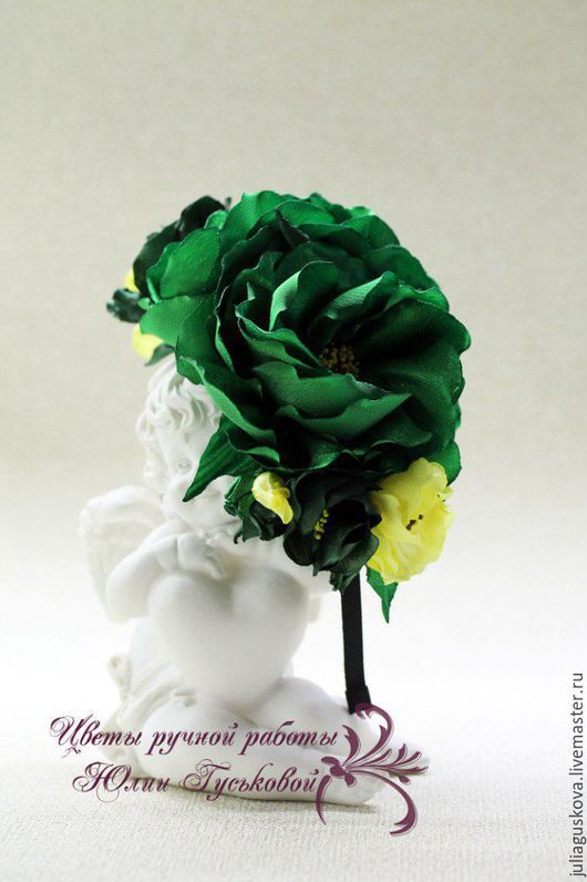 Диадемы, обручи ручной работы. Ярмарка Мастеров - ручная работа. Купить Ободок с цветами. Handmade. Зеленый, украшение, цветы из ткани