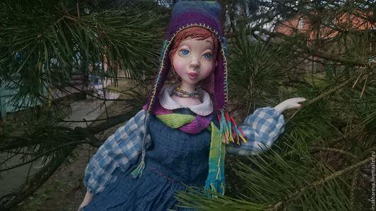 Коллекционные куклы ручной работы. Ярмарка Мастеров - ручная работа. Купить Подвижная кукла из папье маше Лида.... Handmade. Голубой
