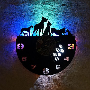 For home and interior handmade. Livemaster - original item Wall clock made of vinyl record with dog light. Handmade.