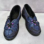 Обувь ручной работы handmade. Livemaster - original item Shoes loafers felted with a flower of leather. Handmade.