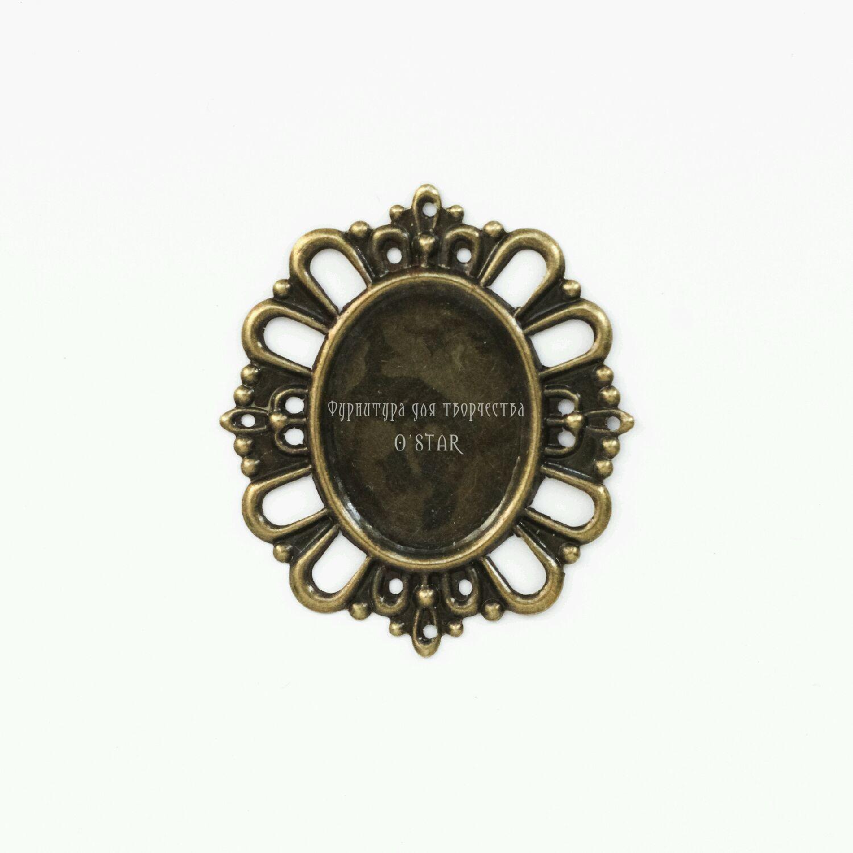 Рамка для кабошона овал бронза, Для украшений, Москва, Фото №1