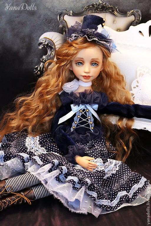 Коллекционные куклы ручной работы. Ярмарка Мастеров - ручная работа. Купить Мишель. Handmade. Тёмно-синий, Будуарная кукла, трессы
