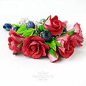 Украшения handmade. Livemaster - original item Bracelet with flowers roses and blueberries made of polymer clay. Handmade.