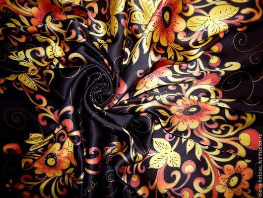 """Шали, палантины ручной работы. Ярмарка Мастеров - ручная работа. Купить Платок батик """"Черная хохлома"""". Handmade. Черный"""