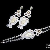 Свадебный салон handmade. Livemaster - original item Soutache bracelet earrings for wedding Marshmallow pearls white. Handmade.