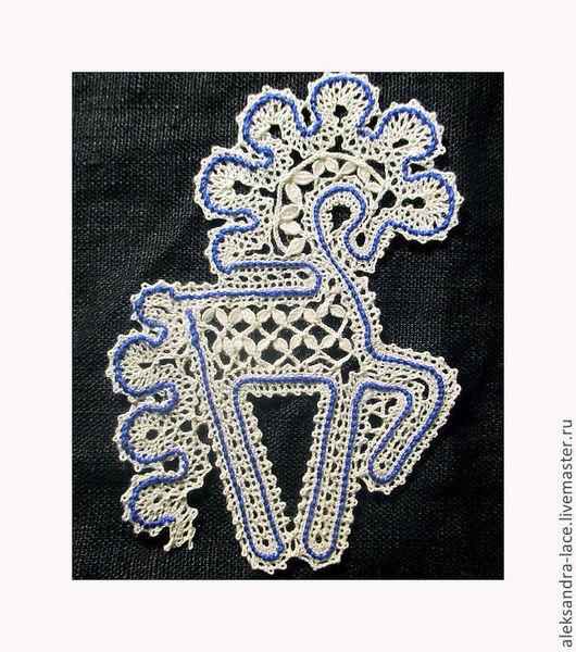 Комплекты аксессуаров ручной работы. Ярмарка Мастеров - ручная работа. Купить Белая лошадка с синей сканью. Handmade. Коклюшечное кружево