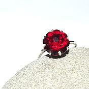 """Украшения ручной работы. Ярмарка Мастеров - ручная работа Кольцо """"Гранатовый цветок"""" кварц, серебрение. Handmade."""