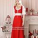 Одежда ручной работы. Ярмарка Мастеров - ручная работа. Купить Льняное платье Подружка. Handmade. Ярко-красный, льняное платье