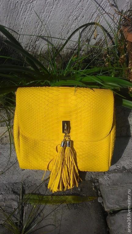 Женские сумки ручной работы. Ярмарка Мастеров - ручная работа. Купить сумочка желтая. Handmade. Желтый, сумка из питона