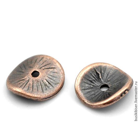 Бусины круглые `Античная медь` 10мм x 9мм