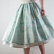 Одежда ручной работы. Ярмарка Мастеров - ручная работа Мятная хлопковая юбка. Handmade.