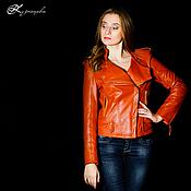 Одежда handmade. Livemaster - original item Leather jacket Orange. Handmade.