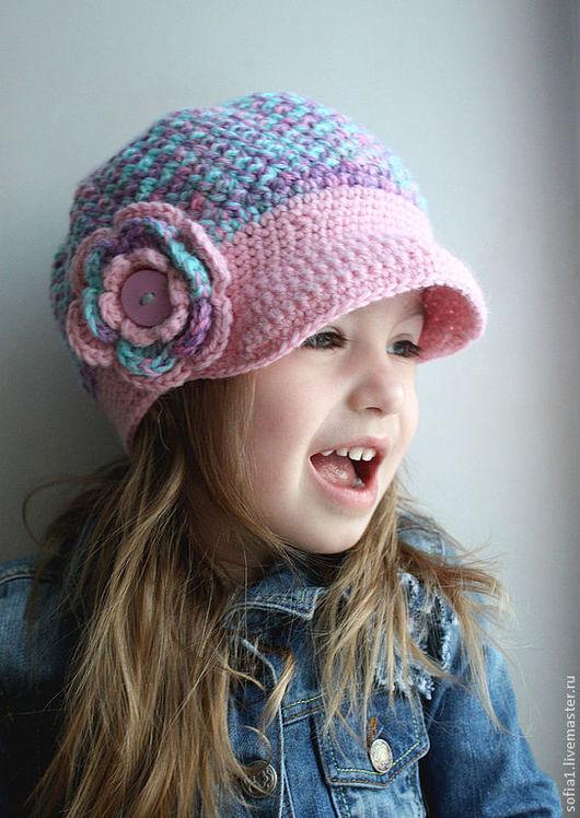 Шапки и шарфы ручной работы. Ярмарка Мастеров - ручная работа. Купить Кепочка для девочки. Handmade. Бирюзовый, кепочка с цветком
