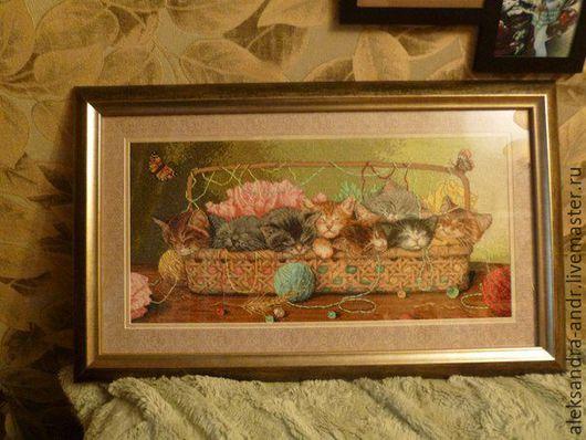 Животные ручной работы. Ярмарка Мастеров - ручная работа. Купить (Маленькие котята). Handmade. Белый, хлопок, аида, счетный крест