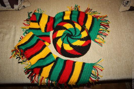 Хиппи, раста ручной работы. Ярмарка Мастеров - ручная работа. Купить Берет и шарфик в стиле раста для Евгении. Handmade. Комбинированный