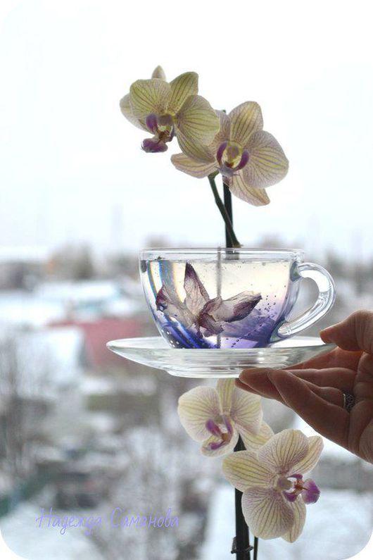 """Свечи ручной работы. Ярмарка Мастеров - ручная работа. Купить Набор гелевых свечей  """"Орхидеи"""". Handmade. Бледно-сиреневый"""